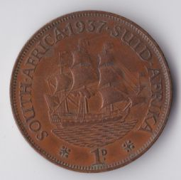 South Africa, George VI, One Penny 1937, VF, WB3247